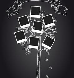 Vintage instant photo tree vector
