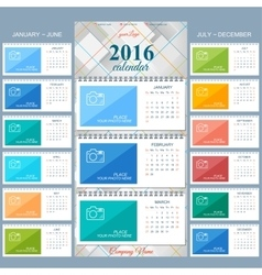 Wall calendar 2016 years design template vector image