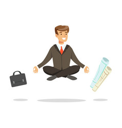 Young businessman sitting in lotus pose and vector