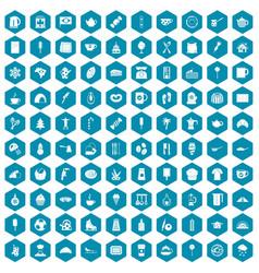 100 coffee icons sapphirine violet vector image vector image