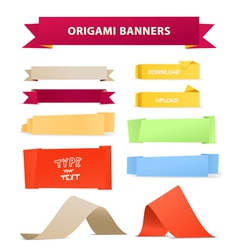 Color polygonal origami ribbons vector