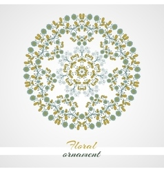 Round ornament blue flowers vector