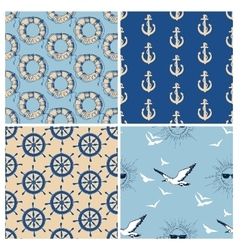 Marine seamless patterns collection sea and ocean vector