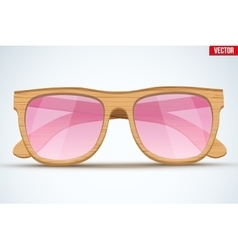 Vintage sunglasses with wooden frame vector image