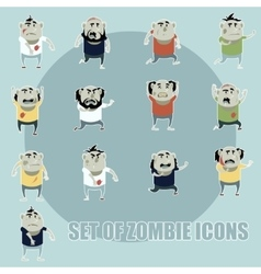 Set of zombie cartoon icons4 vector image