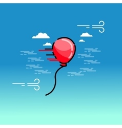 Red balloon on sky vector