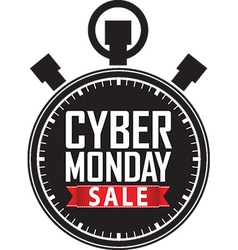Cyber monday sale stopwatch black icon with red vector