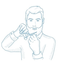 Man cutting his beard and moustache with scissors vector