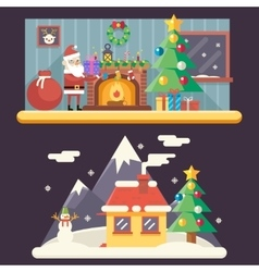 Cristmas room new year house landscape santa claus vector