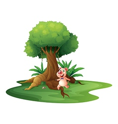 A pig standing under the big tree vector