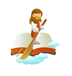 Close-up of jesus christ standing on book vector