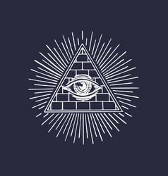 Freemasonry pyramid all-seeing eye engraving vector