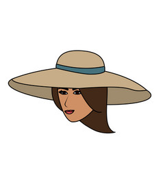 Color image cartoon front face woman with beach vector