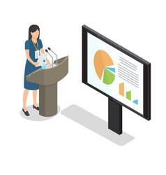 report businesswoman at podium with diagrams flat vector image
