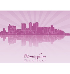 Birmingham AL skyline in purple radiant orchid vector image