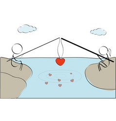 couple fishing heart vector image