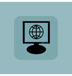 Pale blue globe monitor icon vector