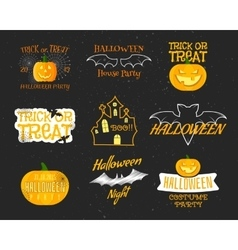 Set of vintage happy halloween badges labels vector
