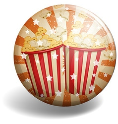 Badge of popcorn withstars vector
