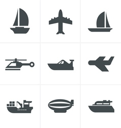 Black transport icons vector