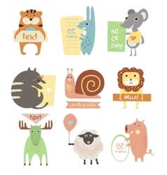 Cute animals with ribbons and boards for text vector