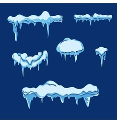 Ice sheet with icicle set in cartoon style vector