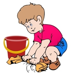 Boy cleaning the floor vector