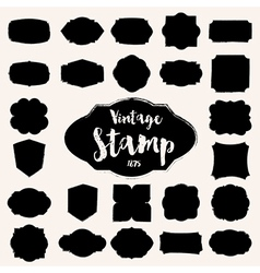 Set of black vintage stamp blank frame vector