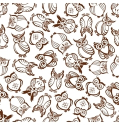 Cute outline brown owls seamless pattern vector