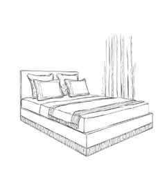 Bedroom interior sketch vector