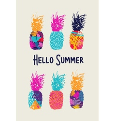 Hello summer color pineapple design in 80s style vector