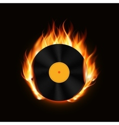 Abstract Music Background with Fire vector image vector image