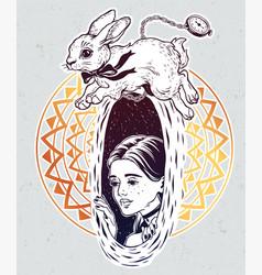 Alice in wonderland chasing the white rabbit vector