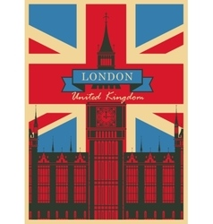 Big ben against the british flag vector
