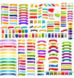 big colorful ribbons set vector image