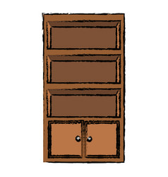 Cabinet shelf furniture wooden office empty vector