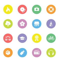 Colorful simple flat icon set 6 on circle vector