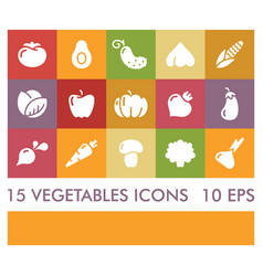 flat icons of vegetables icons vector image vector image
