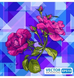 Flowers on a geometric background vector image vector image