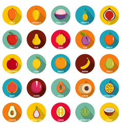 Fruits icons set flat style vector