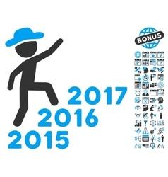 Gentleman Steps Years Flat Icon With Bonus vector image vector image