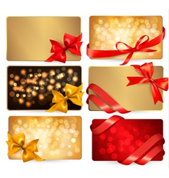 gift cards with red gift bows vector image vector image
