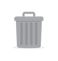 gray trash can with lid vector image