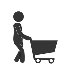 Man cart shopping icon vector image