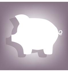 Pig money bank icon with shadow vector