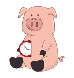 Pig with watch character vector