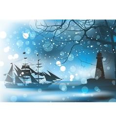 Pirate Ship Sailing vector image