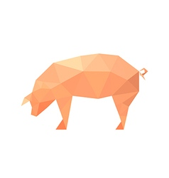 polygonal pig vector image