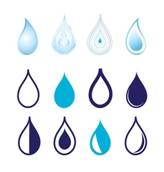 Set different graphics water drops vector image vector image
