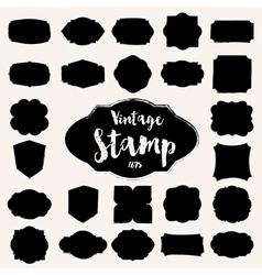Set of black vintage stamp blank frame vector